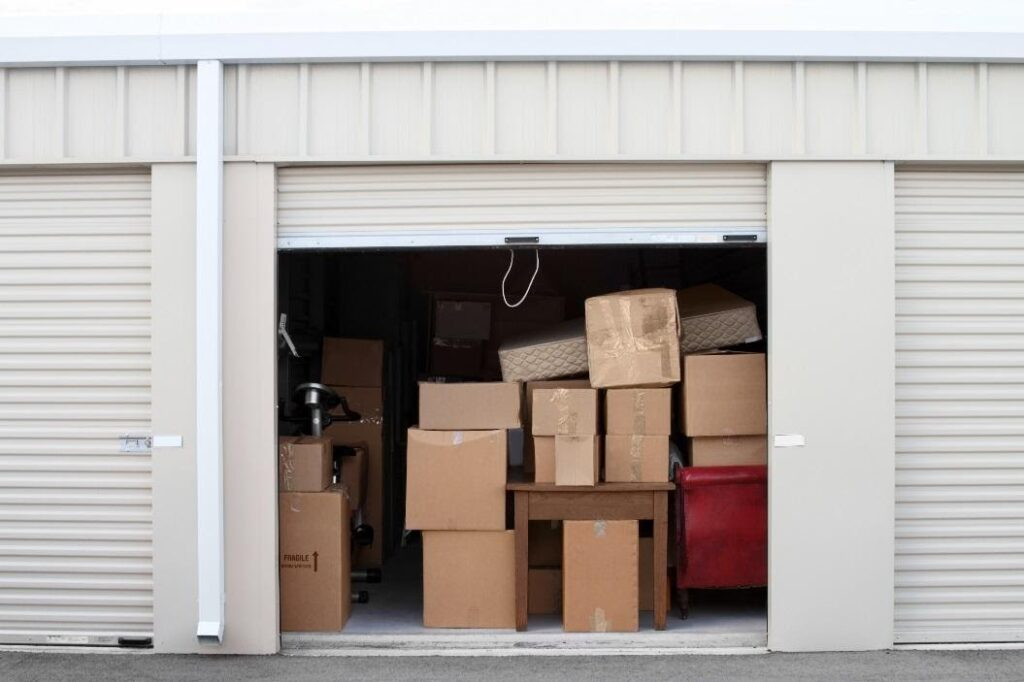 a storage unit with a number of boxes